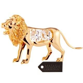 Matashi 24K Gold Plated Lion Ornament with Genuine Matashi Crystals.