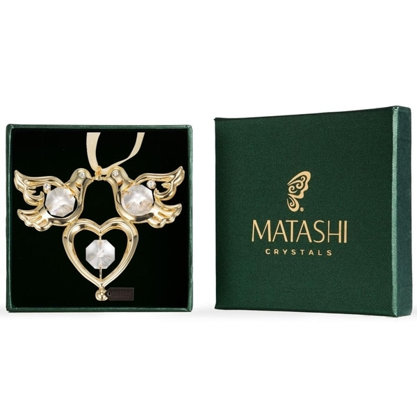 Matashi 24K Gold Plated Love Birds Ornament with Genuine Matashi Crystals