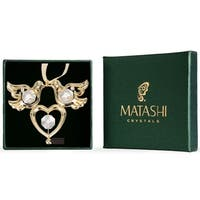 Matashi 24K Gold Plated Love Birds Ornament with Genuine Matashi Crystals