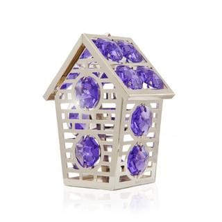 Matashi Silver Plated Highly Polished Lovely Bird House Ornament with Genuine Matashi Purple and Clear Crystals