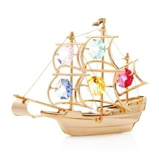Matashi 24K Gold Plated Colorful Mayflower Ornament with Matashi Crystals