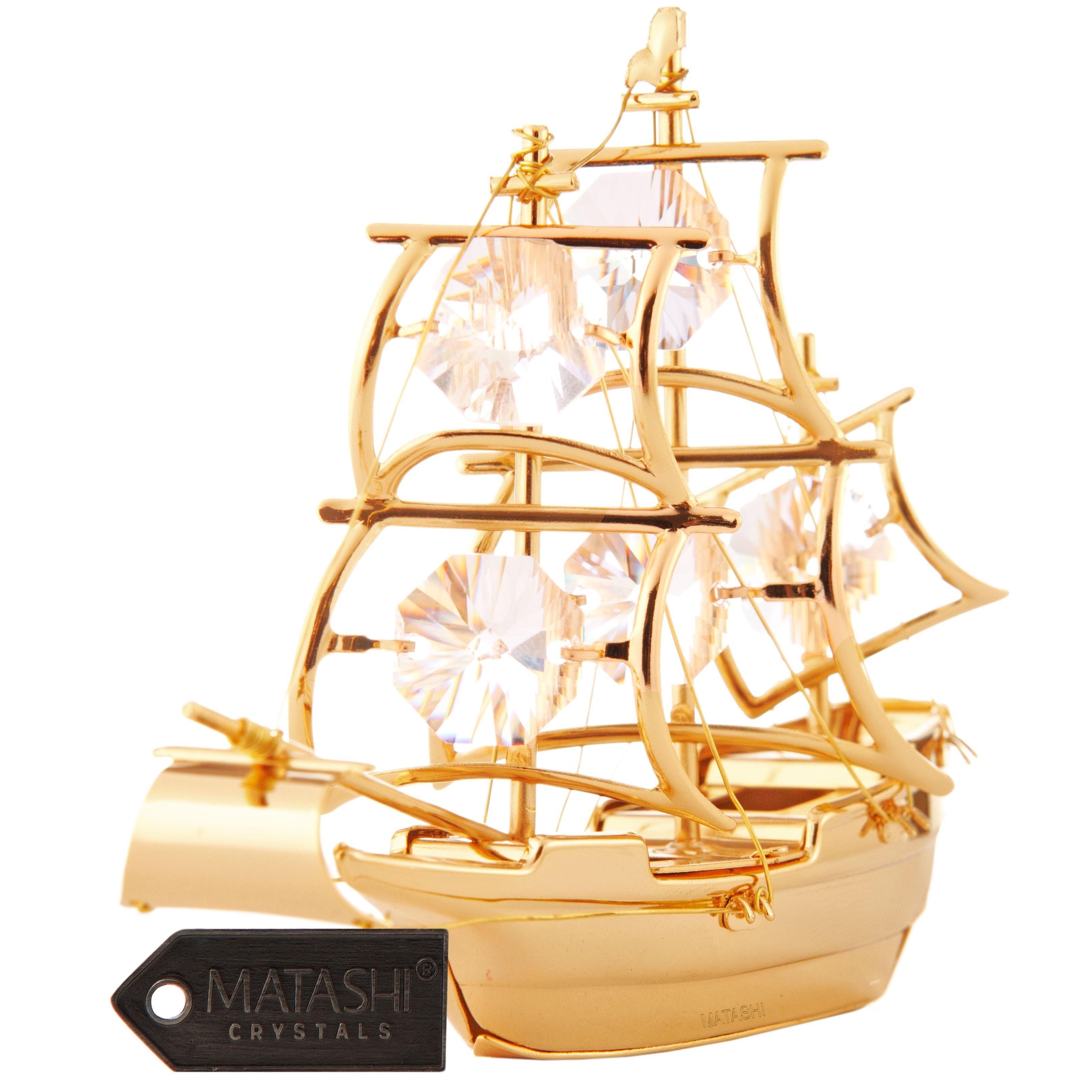 Matashi 24K Gold Plated Mayflower Ship Ornament with Genu...
