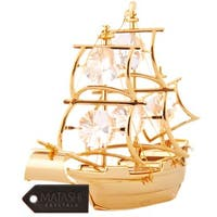 Matashi 24K Gold Plated Mayflower Ship Ornament with Genuine Matashi Crystals
