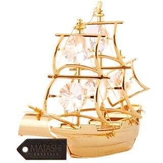 Matashi 24K Gold Plated Mayflower Ship Ornament with Genuine Matashi Crystals