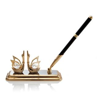 Matashi 24K Gold Plated Mini Swan Pen Set with Genuine Matashi Crystals