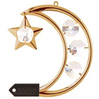 24K Gold Plated Crystal Studded Moon and Star Hanging Ornament by Matashi