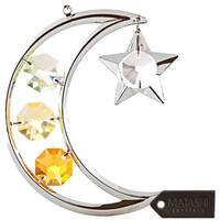 Silver Plated Tri Color Crystal Studded Moon & Star Hanging Ornament by Matashi