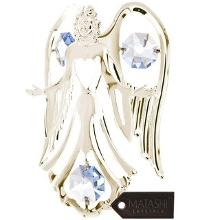 Matashi Silver Plated Highly Polished Stunning Open Arms Angel Ornament with Genuine Blue Matashi Crystals