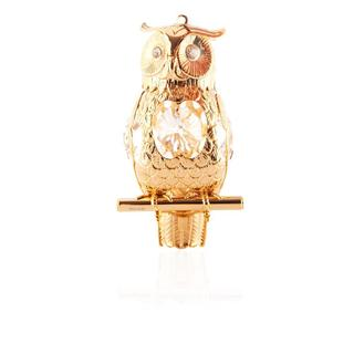 Matashi 24K Gold Plated Highly Polished Owl Ornament with Genuine Matashi Crystals