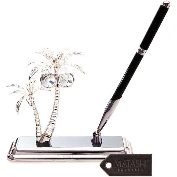 Matashi Silver Plated Palm Trees Pen Set with Genuine Matashi Crystals