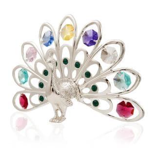 Matashi Silver Plated Highly Polished Peacock Ornament with Colorful Genuine Matashi Crystals