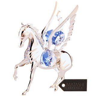 Matashi Silver Plated Highly Polished Pegasus Ornament with Genuine Matashi Crystals