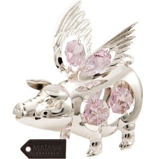 Matashi Silver Plated Highly Polished Adorable Pig with Wings Ornament with Genuine Matashi Pink and Clear Crystals