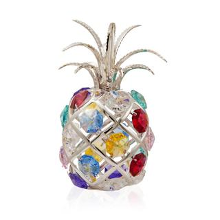 Matashi Silver Plated Highly Polished Ravishing Pineapple Ornament with Genuine Colorful Matashi Crystals