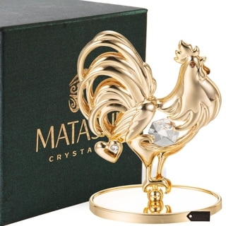 Matashi 24K Gold Plated Rooster Table Top with Genuine Matashi Crystals
