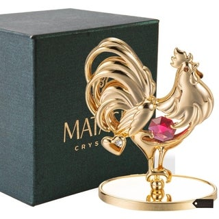 Matashi 24K Gold Plated Rooster Table Top with Red and Clear Genuine Matashi Crystals