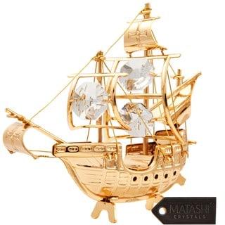 Matashi 24K Gold Plated Beautiful Santa Maria Ship Ornament with Genuine Matashi Crystals