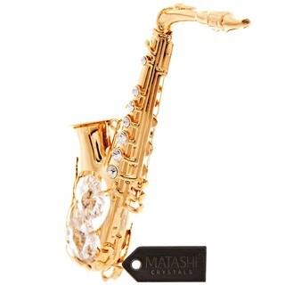 Matashi 24K Gold Plated Saxophone Ornament with Genuine Matashi Crystals
