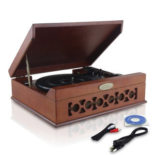 Pyle PVNTT6UMRBT Retro Style Bluetooth Record Player Turntable with Vinyl-to-MP3 Recording
