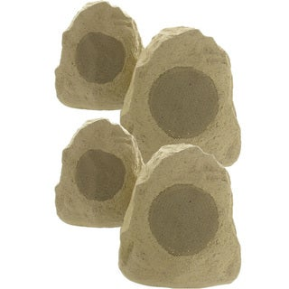 Theater Solutions 4R4S Outdoor Weatherproof Sandstone Rock Speakers 4 Piece Set 1000 Watts