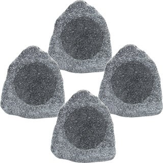 Theater Solutions 4R6G 2 Pairs of 6.5-inch Woofers Outdoor Garden Waterproof Granite Rock Patio Speakers