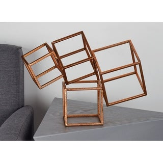 Modern 14 x 11 Inch Golden Iron Cube Outline Sculptures by Studio 350