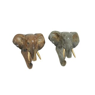 The Curated Nomad Merced Elephant Bust Wall Hooks (Set of 2)