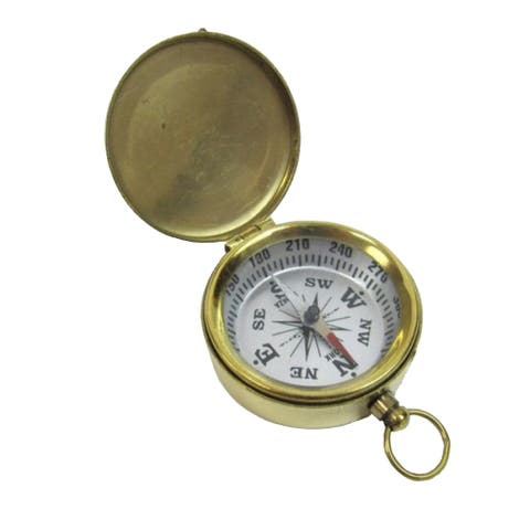 Brass Pocket Compass with Lid and White Dial