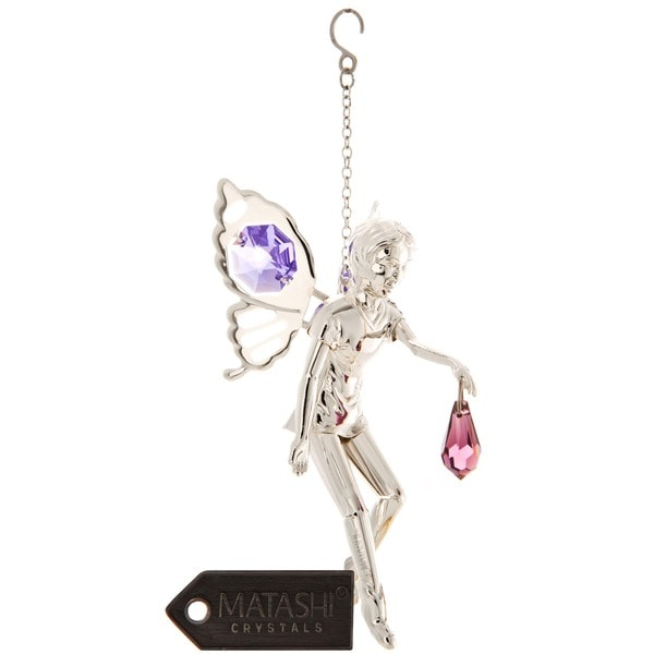 Matashi Silver Plated Highly Polished Sweet Fairy with Moving Wings Ornament with Genuine Matashi Purple Crystals