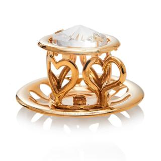 Matashi 24K Gold Plated Tea Cup with Saucer Ornament with Genuine Matashi Crystals