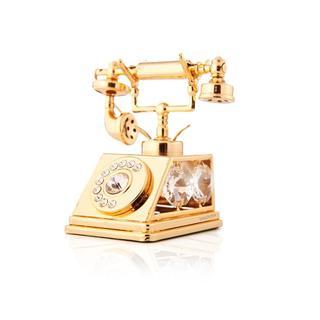 Matashi 24K Gold Plated Telephone Ornament with Genuine Matashi Crystals