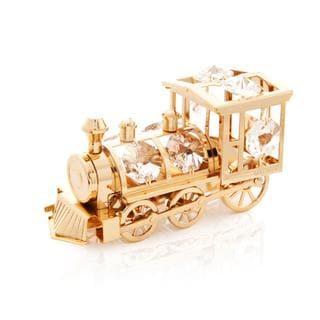 Matashi 24k Gold Plated Train Ornament with Genuine Matashi Crystals