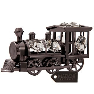 Matashi Charcoal Metal Plated Train Ornament with Genuine Matashi Crystals