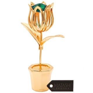 Matashi 24K Gold Plated Tulip Table Top with Genuine Emerald Matashi Crystals