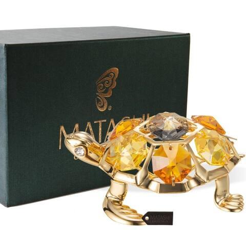 Matashi 24K Gold Plated Turtle with Topaz Enamel Ornament with Genuine Matashi Crystals
