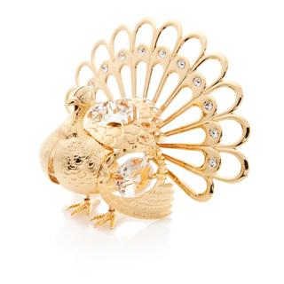 Matashi 24K Gold Plated Beautiful Very Detailed Turkey Ornament with Genuine Matashi Crystals