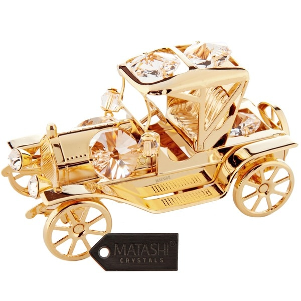 Matashi 24K Gold Plated Highly Polished Vintage Car Ornament with Genuine Matashi Crystal