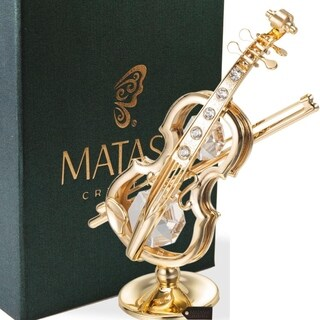 Matashi 24K Gold Plated Violin on a Stand Ornament with Genuine Matashi Crystals.