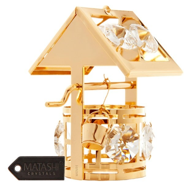 Matashi 24K Gold Plated Wishing Well Ornament with Genuine Matashi Crystals