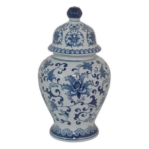 Benzar Blue and White Ceramic Jar With Lid