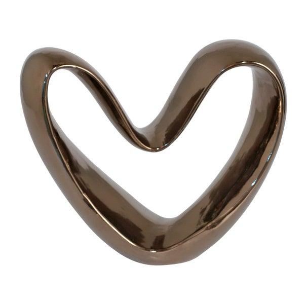 Ceramic Heart Art Décor Bronze 10-inch