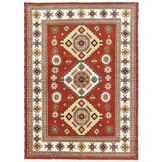 Royal Kazak Cream/ Dark Orange-Red Wool Geometric Rectangular Rug (5'9 x 7'10)