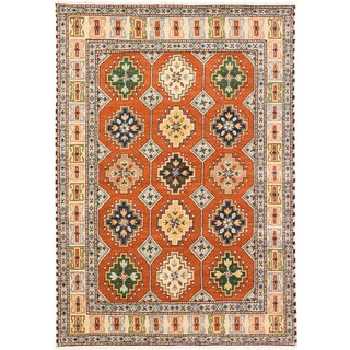 Royal Kazak Copper/ Light Gold Wool Geometric Rectangular Rug (5'7 x 6'8)
