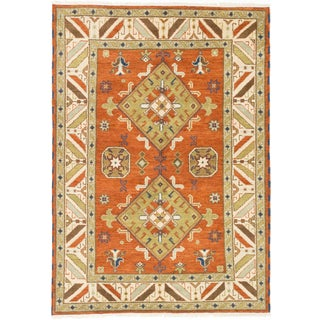 Royal Kazak Copper/ Khaki Wool Geometric Rectangular Rug (5'9 x 8'0)