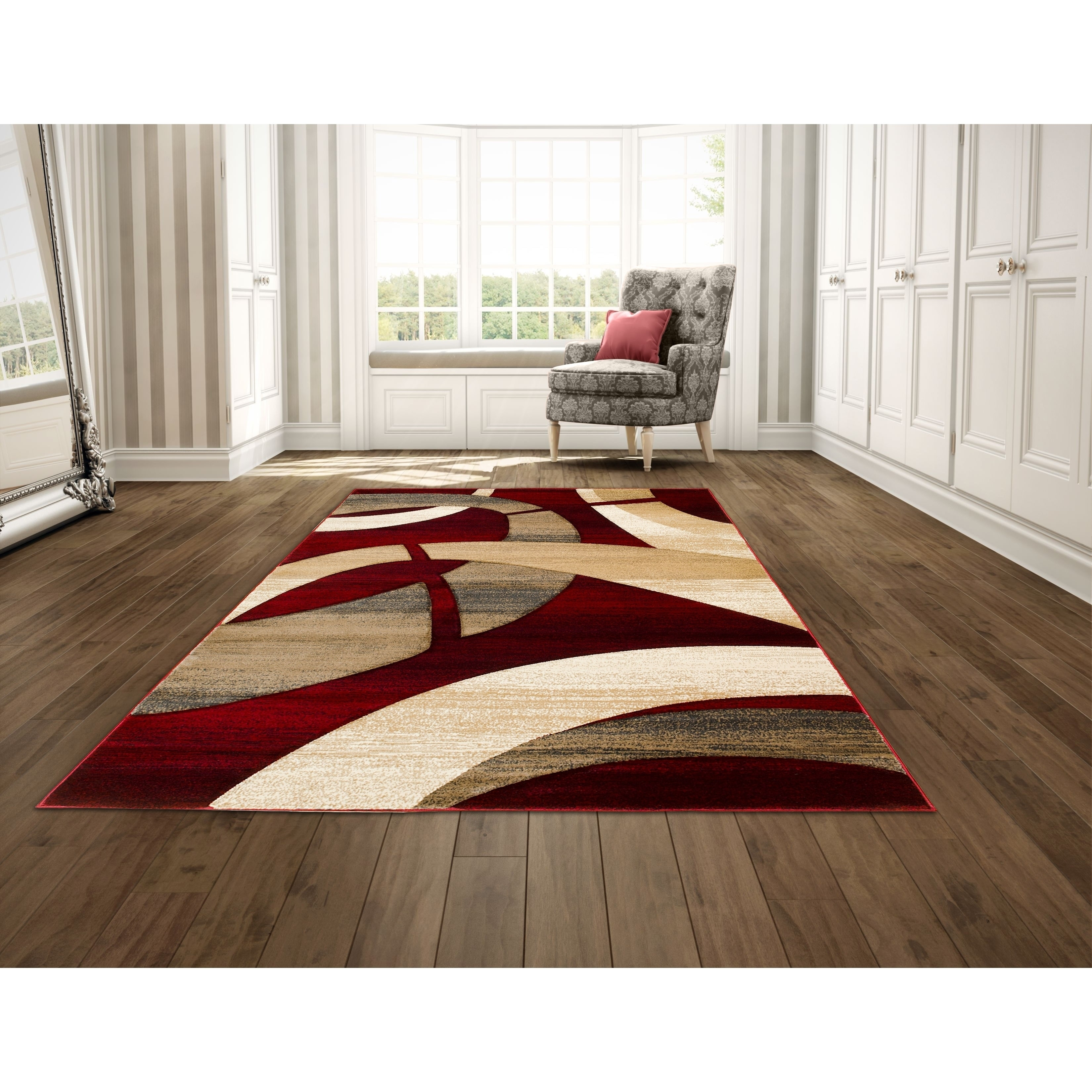 Hand Carved Red Abstract Area Rug