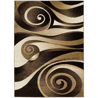 LYKE Home Hand Carved Chocolate Swirls Area Rug (5' x 7')