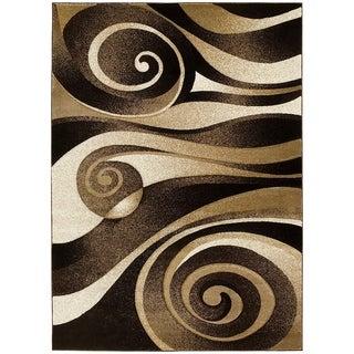 LYKE Home Hand Carved Chocolate Swirls Area Rug (5'3 x 7'2)