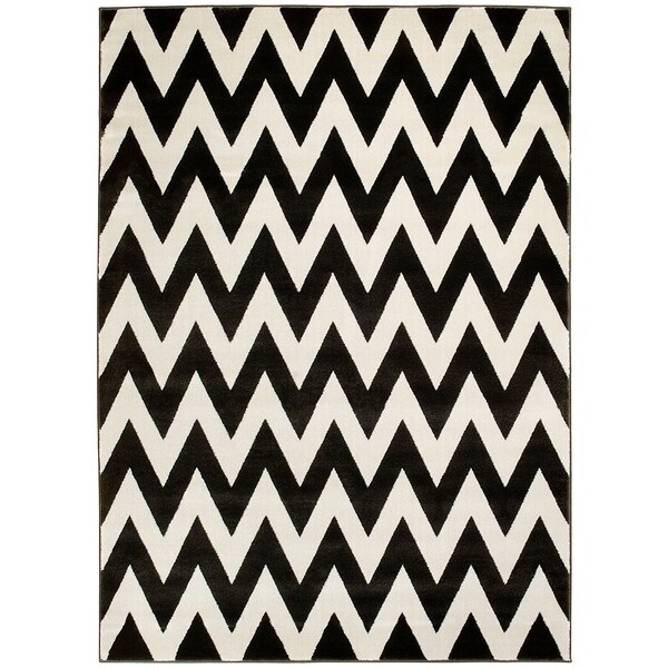 LYKE Home Hand Carved Coal Chevron Area Rug (5' x 7') - 5'3 x 7'2