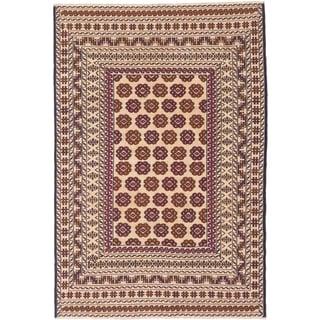 Shiravan Sumak Ivory/ Red Wool Open Field Sumak Rectangular Rug (4'2 x 6'2)