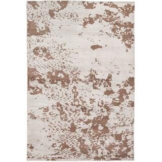 Sari Silk Dark Brown/ Light Grey Sari Silk Abstract Rectangular Rug (5'2 x 7'9)